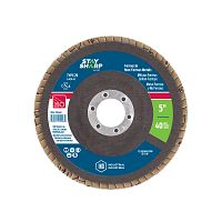 "5"" x 40 Grit x 7/8""  Wood & Metal Flap Disc - Type 29  Industrial Abrasive"