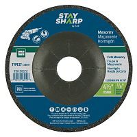 "4 1/2"" x 1/8""   x 7/8"" Standard Masonry Depressed Center Wheel - Type 27  Professional Abrasive"