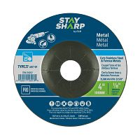 "4"" x 1/8""   x 5/8"" Standard Metal Depressed Center Wheel - Type 27  Professional Abrasive"