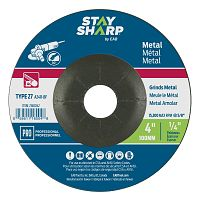 "4"" x 1/4""   x 5/8"" Standard Metal Depressed Center Wheel - Type 27  Professional Abrasive"