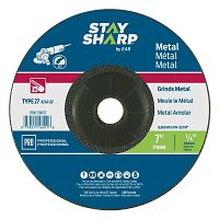 "7"" x 1/4""   x 7/8"" Standard Metal Depressed Center Wheel - Type 27  Professional Abrasive"