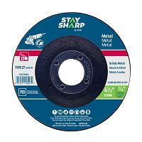 "4 1/2"" x 1/4""   x 7/8"" Standard Metal Depressed Center Wheel - Type 27  Professional Abrasive"