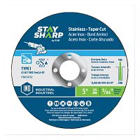 "5"" x 5/64""   x 7/8"" Standard Metal Flat Wheel -Taper Cut (10 Pack) Industrial Abrasive"
