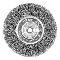 "6"" x 5/8""-1/2"" Carbon Steel Crimped Coarse Wire Wheel    - Recyclable"