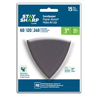 "3"" x 60/120/240 Grit Sandpaper (15 Pack)  Professional Oscillating Accessory"